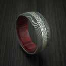 Damascus Steel Celtic Ring With Platinum Inlay And Wood Sleeve Custom Made Band