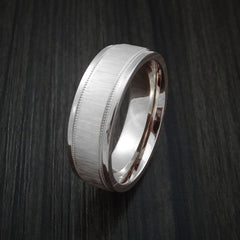 14K White Gold Classic Millgrain Style Wedding Band Custom Made by Revolution Jewelry