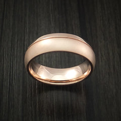 14K Rose Gold Classic Style Band with Two-Tone Finish Custom Made Ring by Revolution Jewelry
