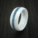 White Ceramic Ring With Opal Inlay Custom Made Band