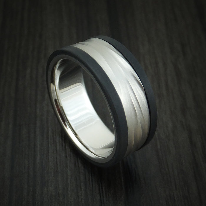 14K White Gold Wave Ring With Carbon Fiber Custom Made Band