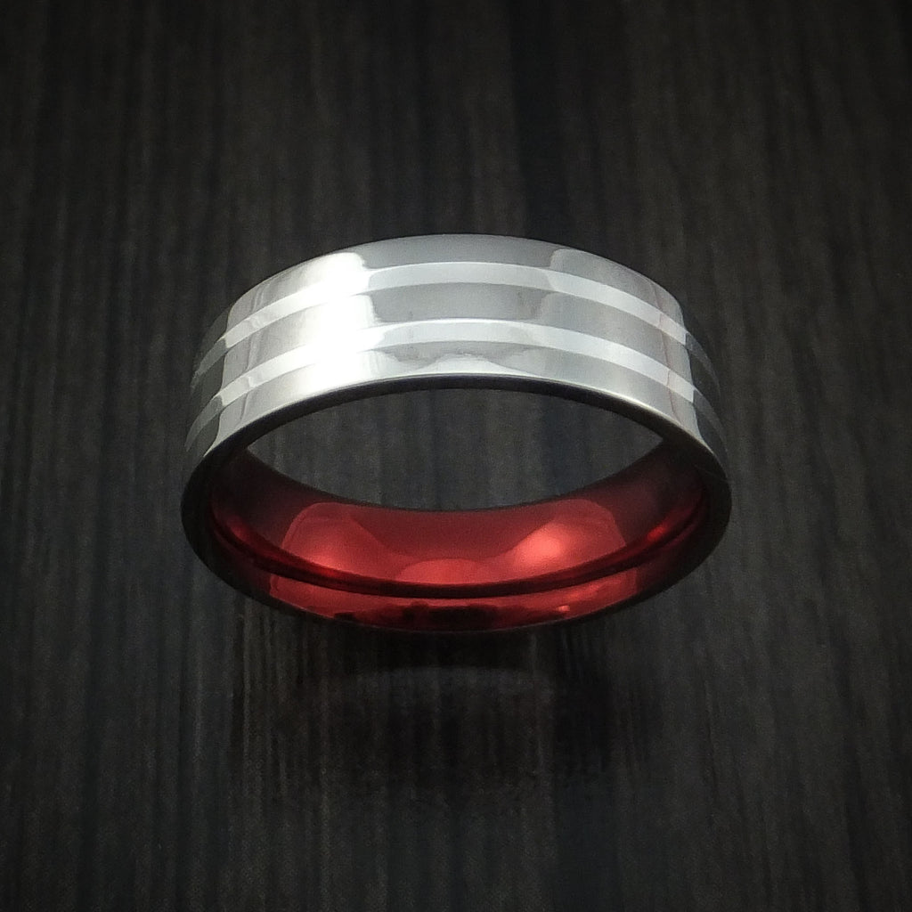 Titanium and Silver Ring with Anodized Sleeve Custom Made Band