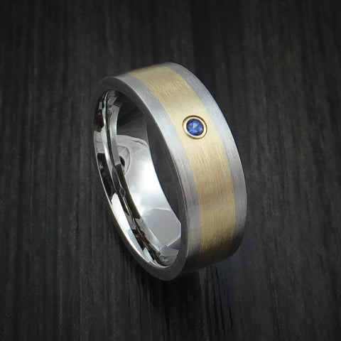 Titanium and 14K Yellow Gold Ring with Chatham Sapphire Custom Made Band