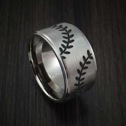 Cobalt Chrome Wide Dual Stitch Baseball Ring Custom Made Band
