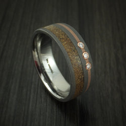 Titanium And Tan Dinosaur Bone Ring With 14K Rose Gold and Diamonds Custom Made Fossil Band