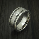Titanium and Guitar String Ring with Diamond Custom Made Band