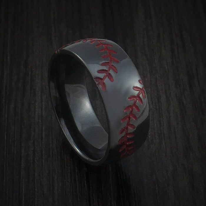 Black Zirconium Baseball Ring with Double Stitching Polish Finish