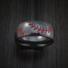 Black Zirconium Baseball Ring with Double Stitching Polish Finish by Revolution Jewelry