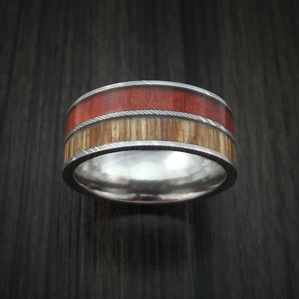 Damascus Steel Ring with American Oak and Red Heart Hardwood Inlays Custom Made Band