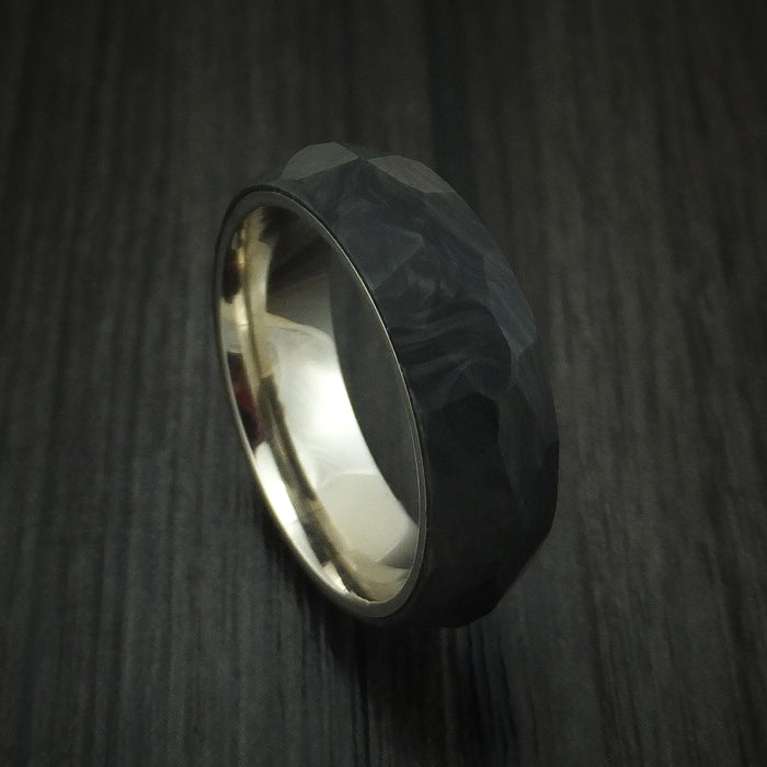 Solid Forged Carbon Fiber Faceted Ring with 14K White Gold Sleeve