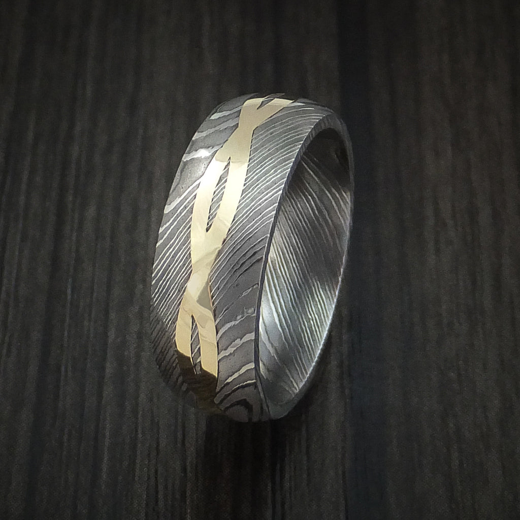 Damascus Steel 14K Yellow Gold Celtic Knot Ring Infinity Design Wedding Band