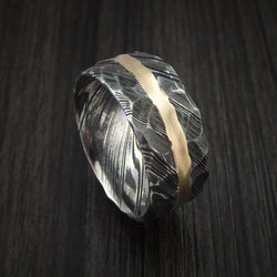Kuro Damascus Steel Ring and 14k Yellow Gold Wedding Band Hammered Genuine Craftsmanship Custom Made