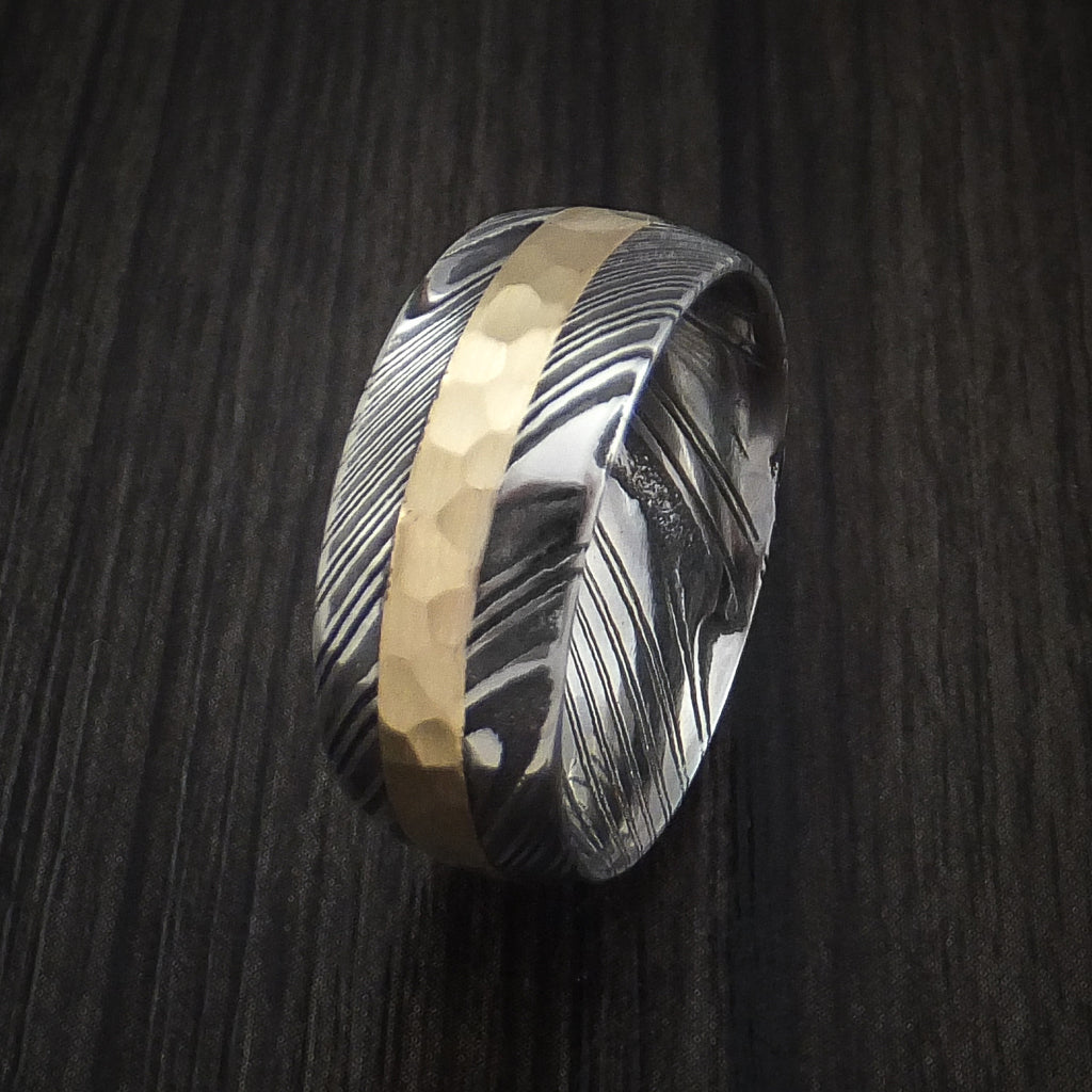 Kuro Damascus Steel and Hammered 14k Yellow Gold Band Custom Made