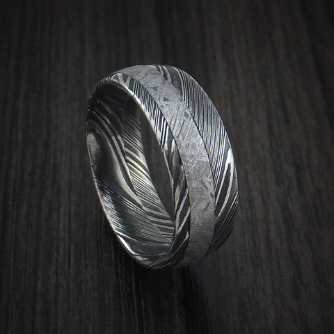 gibeon meteorite in kuro damascus steel wedding band made to any size and width - Meteorite Wedding Ring