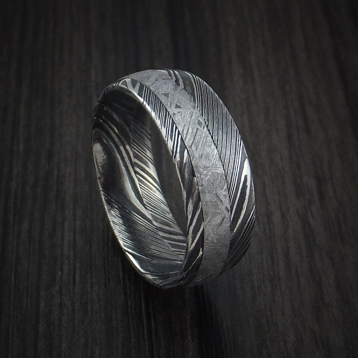 Gibeon Meteorite in Kuro Damascus Steel Wedding Band