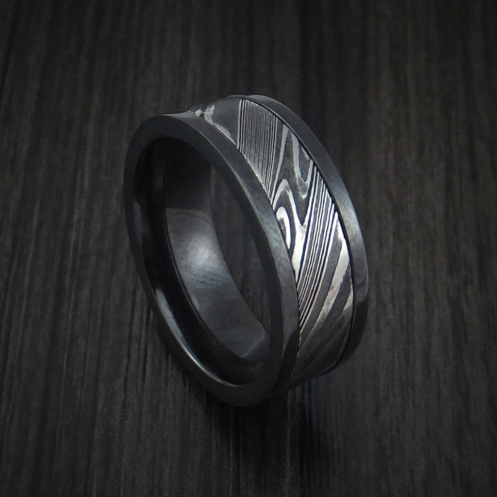 Black Zirconium and Kuro Damascus Steel Band Custom Made Ring