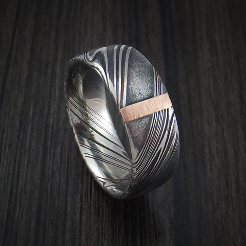 Kuro Damascus Steel Ring with 14k Rose Gold Vertical Inlay Custom Made Band