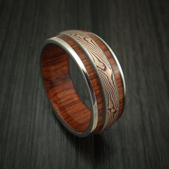 14K White Gold Ring with Hardwood Inlays and Mokume Custom Made Band