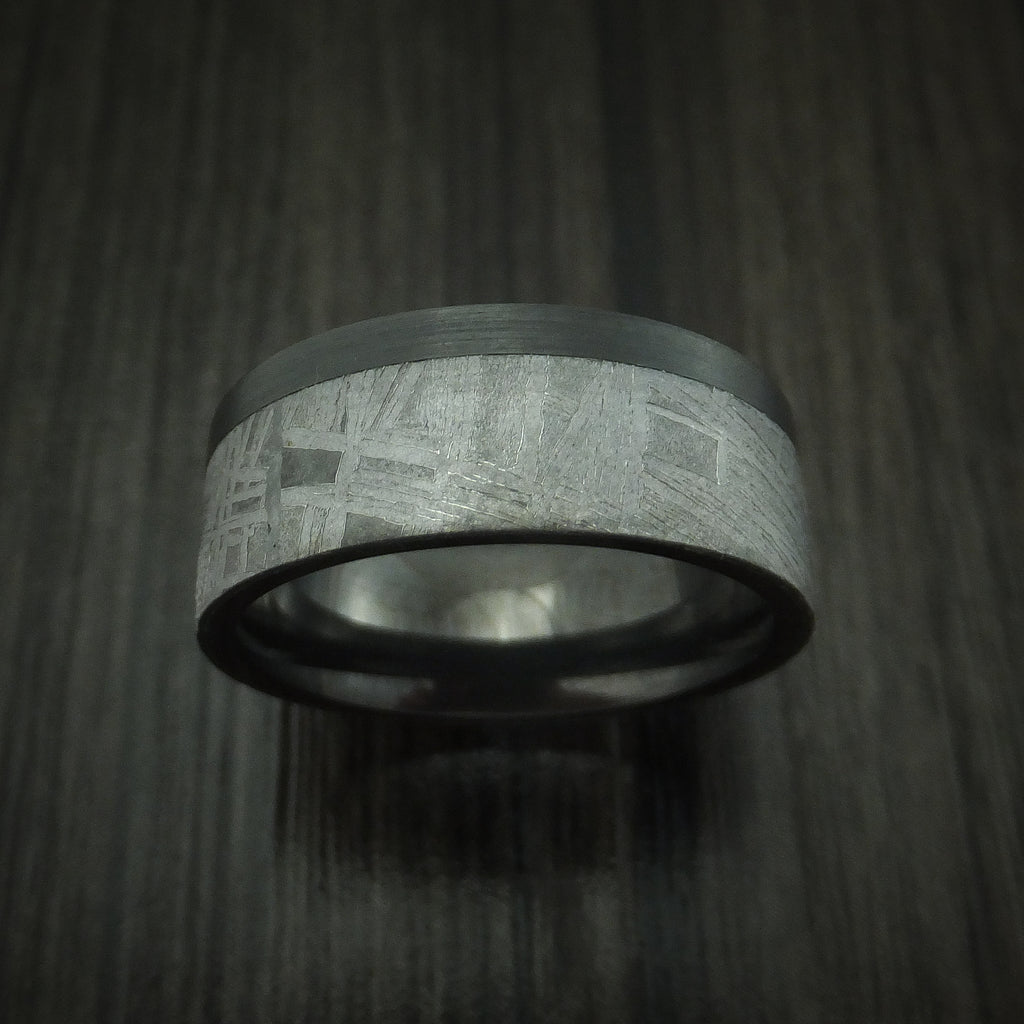 Black Zirconium and Gold Ring with Marble Kuro Damascus Sleeve