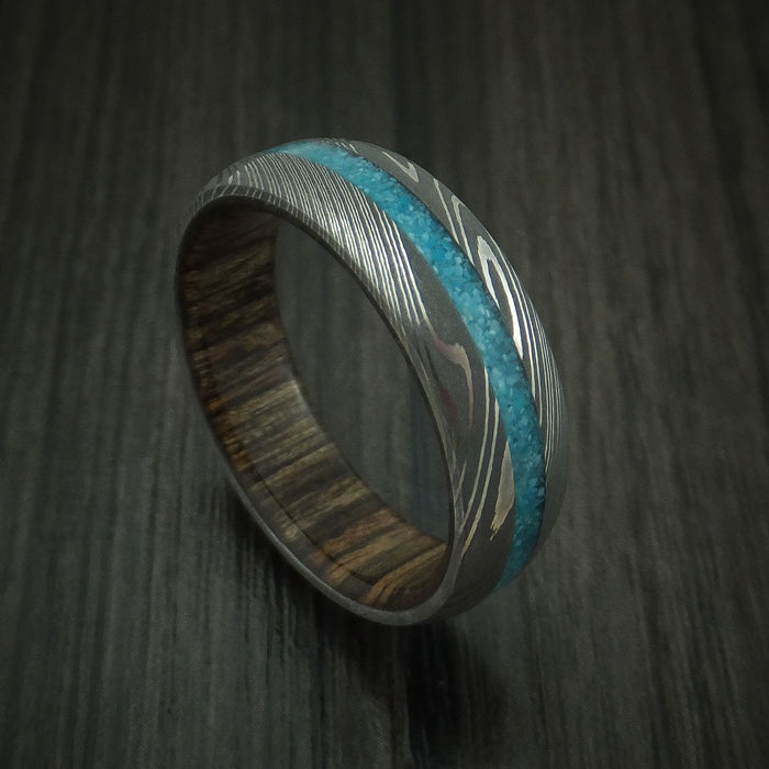 Damascus Steel and Turquoise Band with Wood Sleeve Custom Made Ring