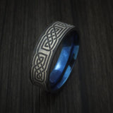 Black Zirconium Celtic Knot Ring with Anodized Sleeve Custom Made Band