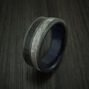 Black Zirconium Dinosaur Bone and Gibeon Meteorite Ring with Wood Sleeve Custom Made Fossil Band