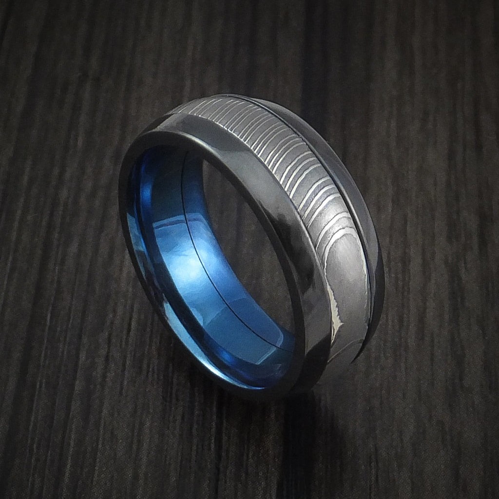 damascus steel damascus steel wedding bands Black Zirconium and Damascus Steel Band with Anodized Interior Custom Made Ring