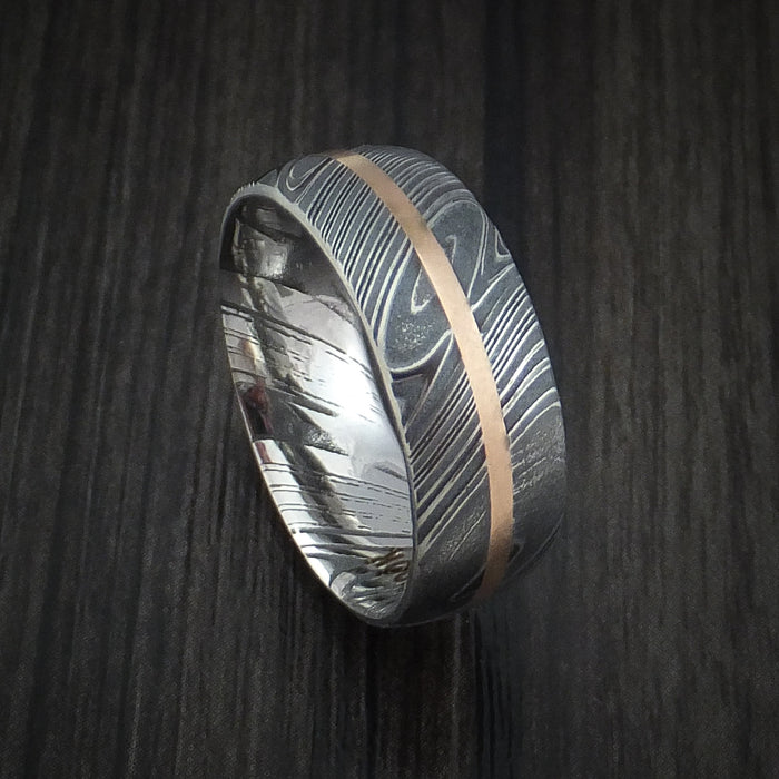 Kuro Damascus Steel Ring and 14k Rose Gold Wedding Band Genuine Craftsmanship Custom Made
