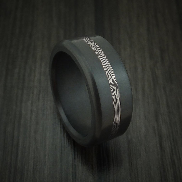 Elysium Black Diamond Wedding Band Rounded With Polish Finish With A White Gold Mokume Shakudo Inlay