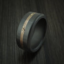 Elysium Black Diamond Wedding Band Rounded With Polish Finish With A Yellow Gold Mokume Shakudo Inlay