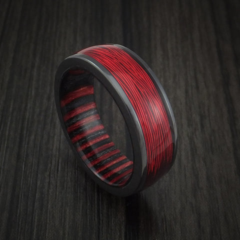 Black Zirconium and Wire Ring with Applejack Wood Sleeve Custom Made