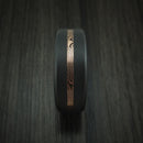 Elysium Black Diamond Wedding Band Rounded With Matte Finish With a Rose Gold Mokume Shakudo Inlay