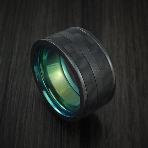 Black Zirconium Ring with Black Carbon Fiber Inlay and Green Anodized Sleeve Custom Made Band