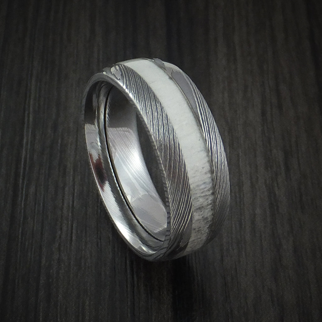antler ring inlaid in solid damascus steel hunters wedding band custom made outdoorsman wedding band Deer Antler Ring inlaid in Solid Damascus Steel Hunters Wedding Band Custom Made Revolution Jewelry