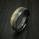 Black Zirconium And Yellow Gold Mokume Shakudo Ring Custom Made Band