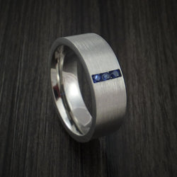 Titanium and Sapphire Ring Custom Made Wedding Band