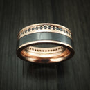 14K Rose Gold Ring with Black Zirconium and Black Diamond Eternity Custom Made