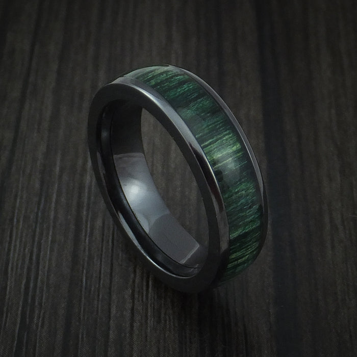 Wood Ring and Black Zirconium Band inlaid with JADE HARD WOOD Custom Made to Any Size and Optional Wood Types