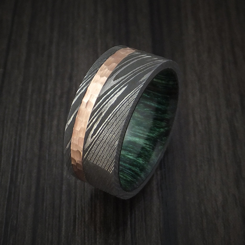 Damascus Steel and Hammered 14k Rose Gold Ring with Jade Hardwood Sleeve Custom Made