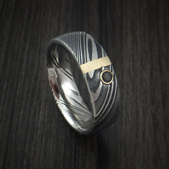 Kuro Damascus Steel Ring with 14k Rose Gold and Black Diamond Custom Made Band
