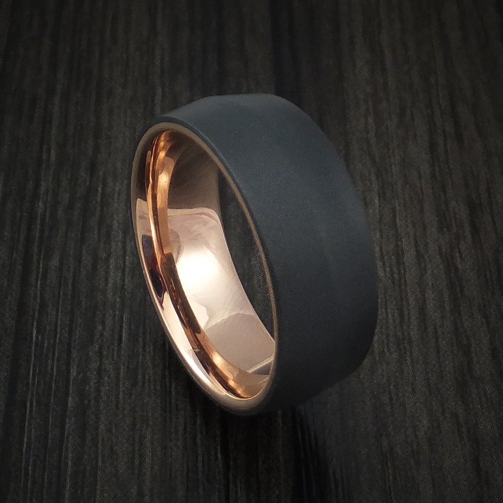 Black Zirconium Ring with 14k Rose Gold Sleeve Custom Made Band