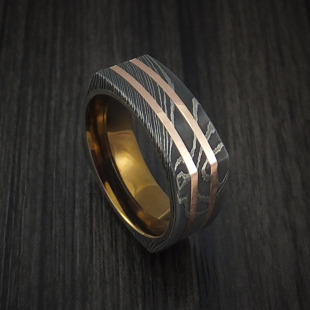Squared Damascus Steel Ring with 14k Rose Gold Inlays and Anodized Titanium Sleeve Custom Made Band - Revolution Jewelry  - 1