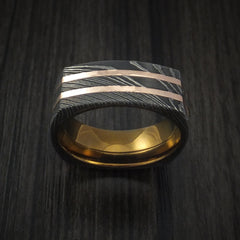 Squared Damascus Steel Ring with 14k Rose Gold Inlays and Anodized Titanium Sleeve Custom Made Band - Revolution Jewelry  - 2