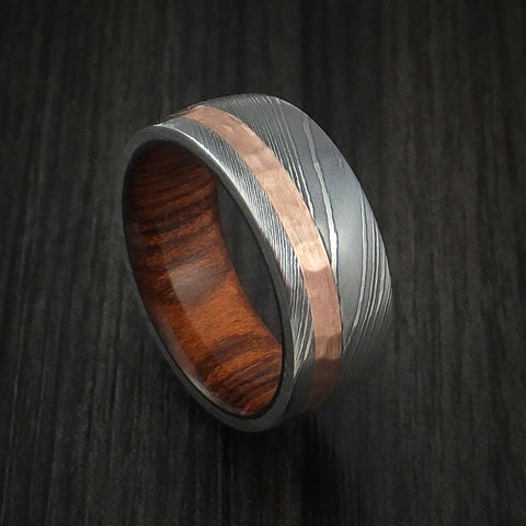 Damascus Steel and Hammered Copper Ring with Cocobolo Hardwood Sleeve Custom Made