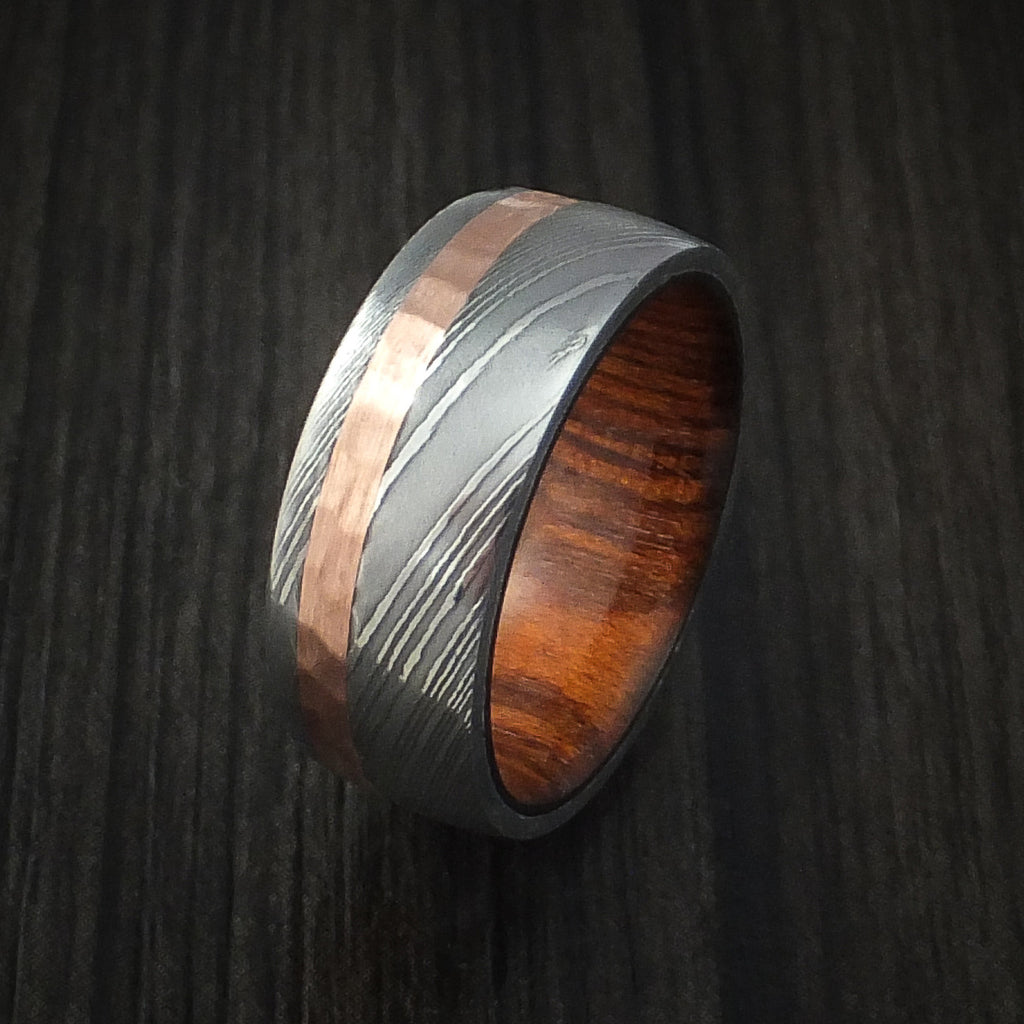 Damascus Steel and Hammered Copper Ring with Hardwood Sleeve Custom Made
