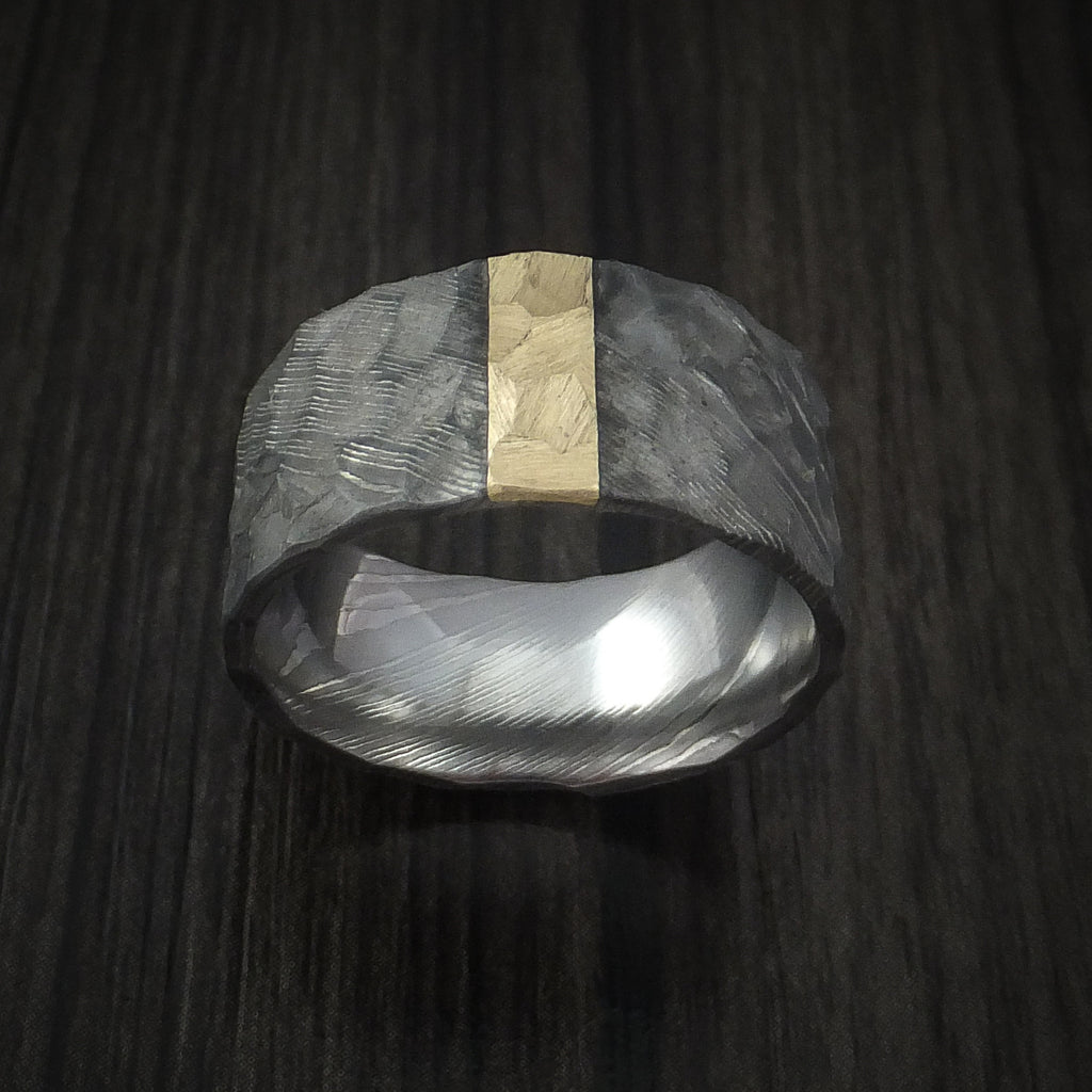 Damascus Steel Wide Ring with Hammer Finish and Vertical 14k Yellow Gold Inlay Custom Made Band
