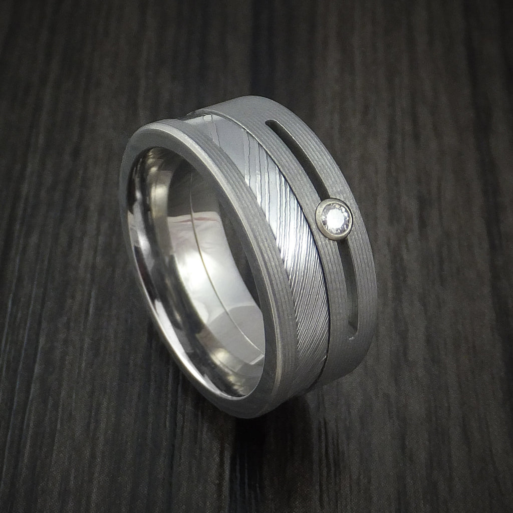 Titanium and Damascus Steel Ring with Moissanite Custom Made Band