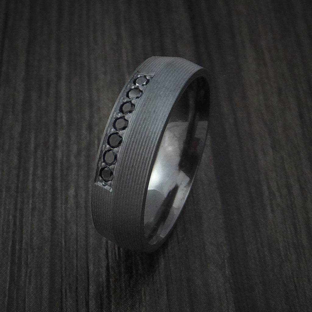 Black Zirconium and Black Diamond Ring Custom Made Band
