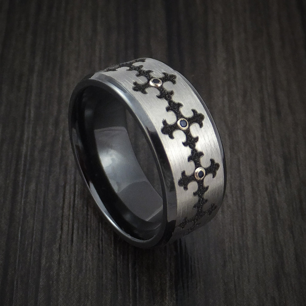 Black Zirconium Ring with Fleury Cross and Blue Sapphires with 14k White Gold Bezels Custom Made