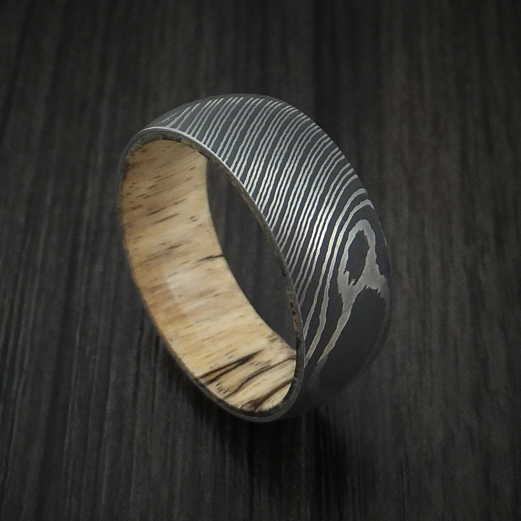 Damascus Steel Ring with Spalted Tamarind Hardwood Interior Sleeve Custom Made - Revolution Jewelry  - 1